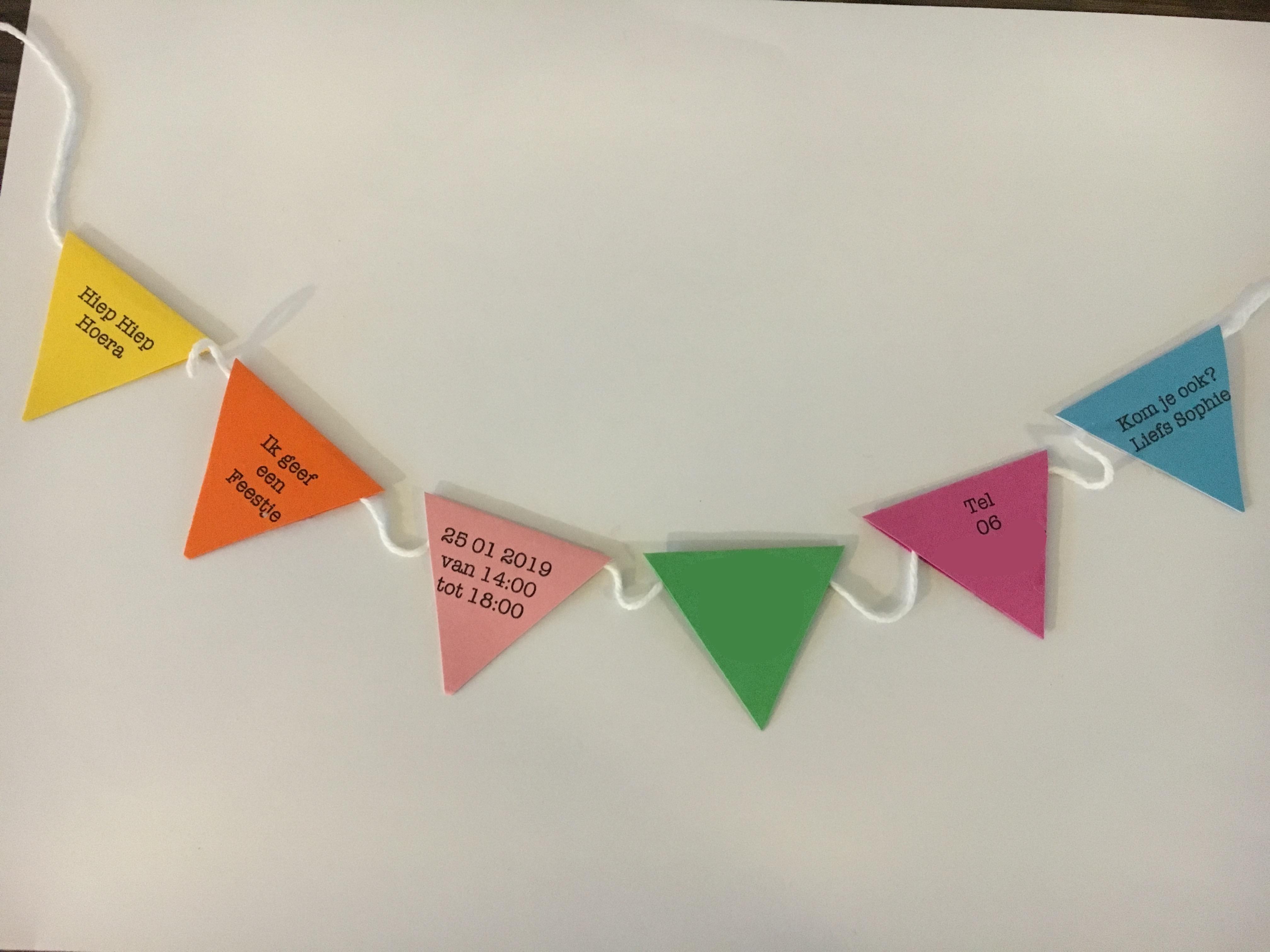 Favoriete Uitnodiging kinderfeestje vlaggetjes vlaggenlijn origineel zelf @HH76
